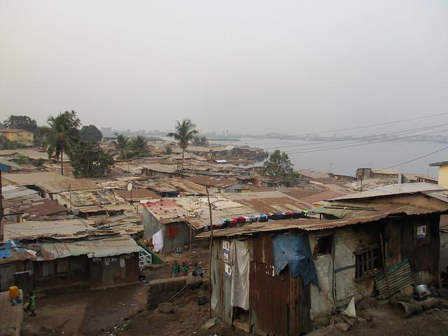 Cockle Bay slum in Sierra Leone taken by John Hassan Koroma of SLURC