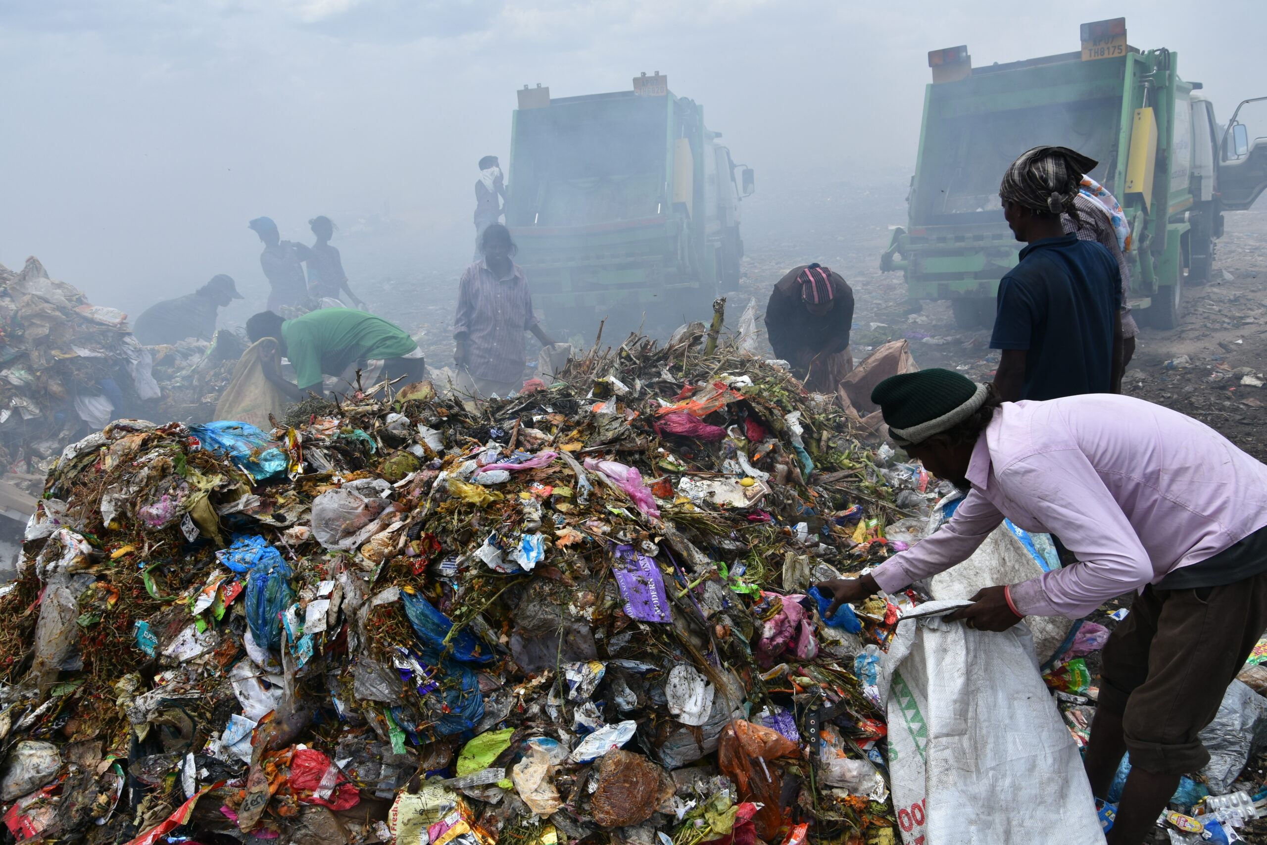 Piles of plastic on a dump site
