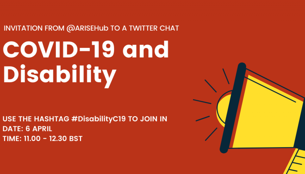 COVID-19 and Disability Invite containing date and time of the Chat