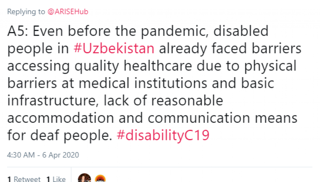 Tweet that reads even before the pandemic disabled people faced barriers in accessing quality health care