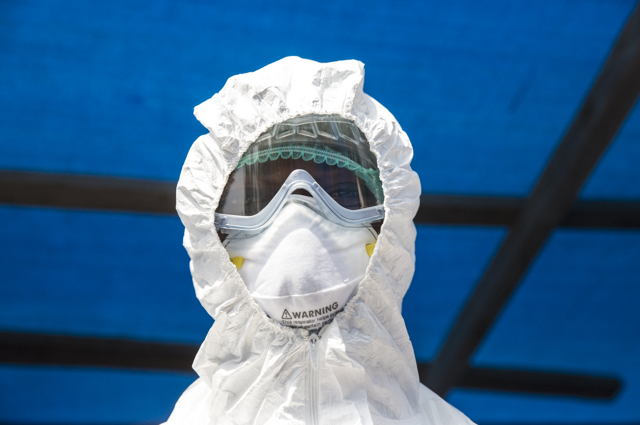 Health Worker in PPE at Ebola Isolation Ward in Kabala Sierra Leone