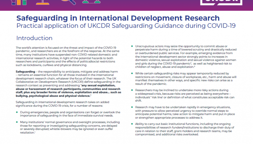 Practical Application of UKCDR Safeguarding Guidance During COVID 19