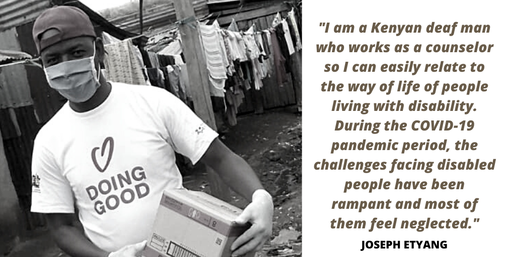 Photo of Joseph and a quote from the photo story