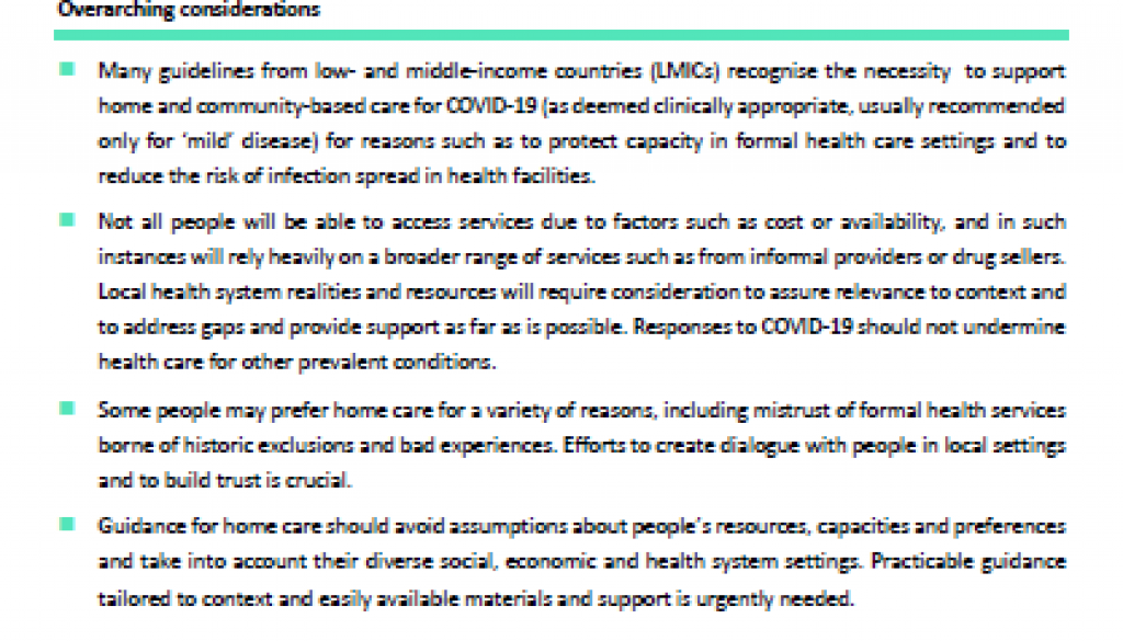 COVID 19 considerations for home and community based care