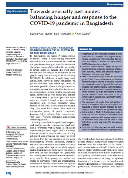 Towards a socially just model balancing hunger and response to the COVID 19 pandemic in Bangladesh