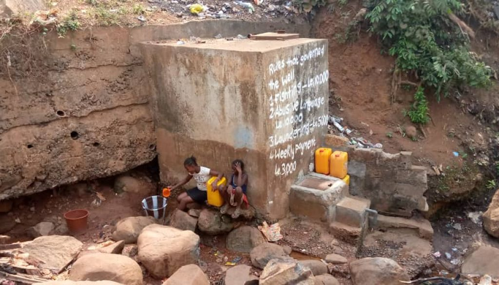 Informal settlement water supply in Freetown