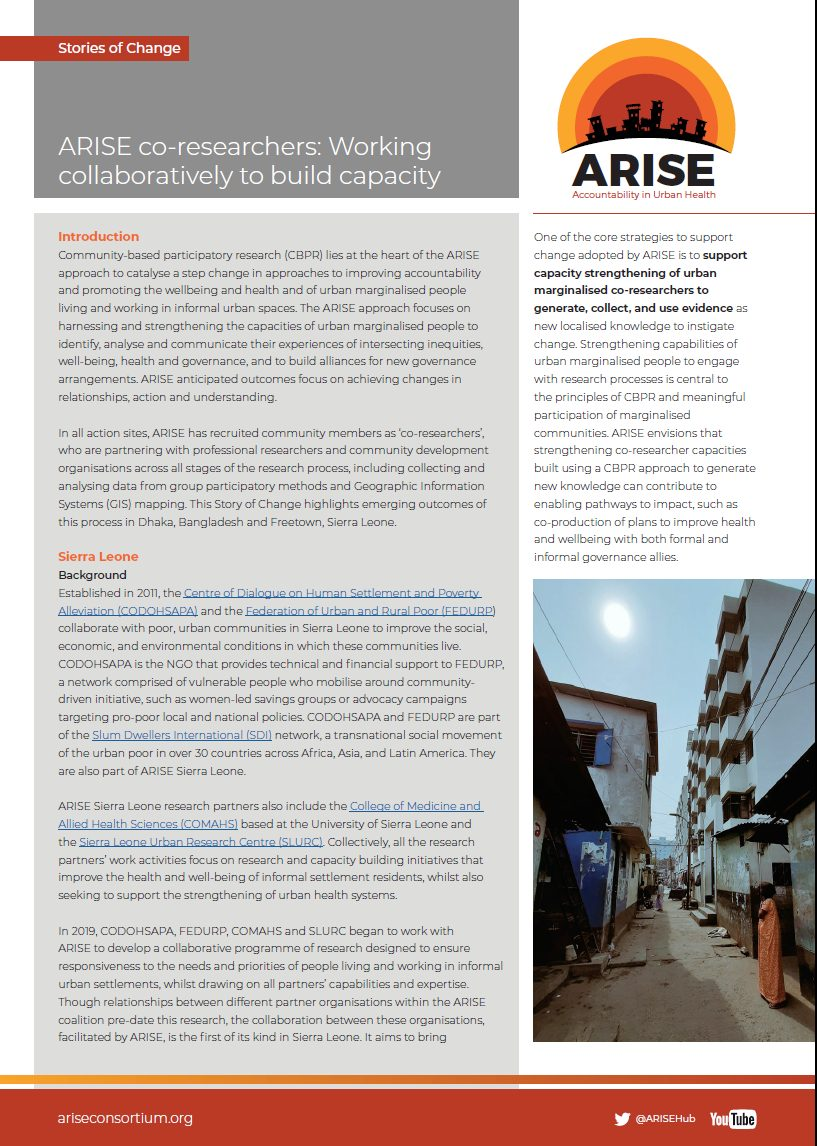 ARISE co-researchers Story of change
