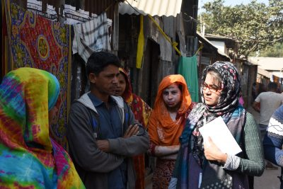 ARISE team visiting and engaging with slum dwellers in Brac