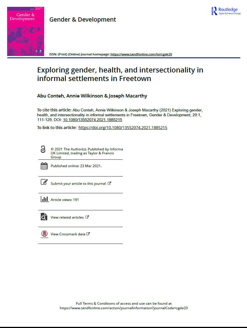Exploring gender, health, and intersectionality in informal settlements in Freetown