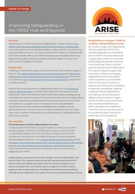 Improving safeguarding in ARISE Story of Change