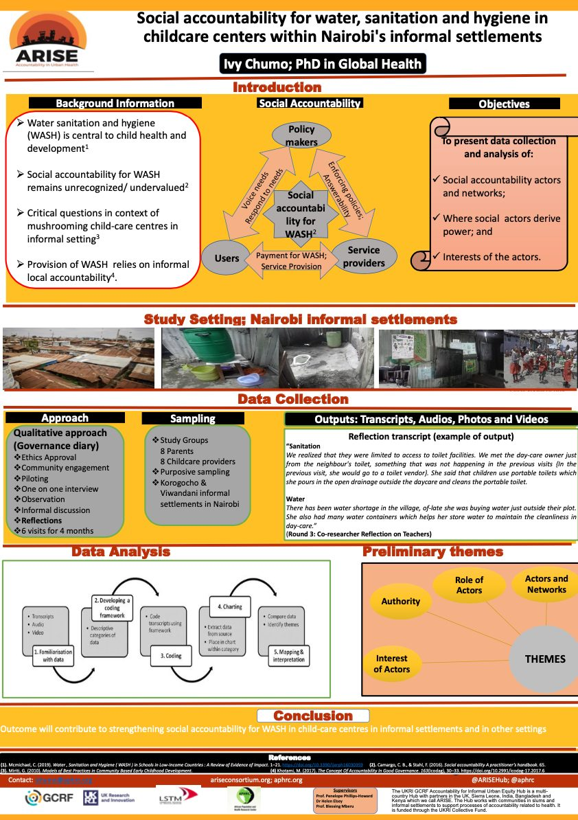 Social accountability for water, sanitation and hygiene in childcare centers within Nairobi's informal settlements
