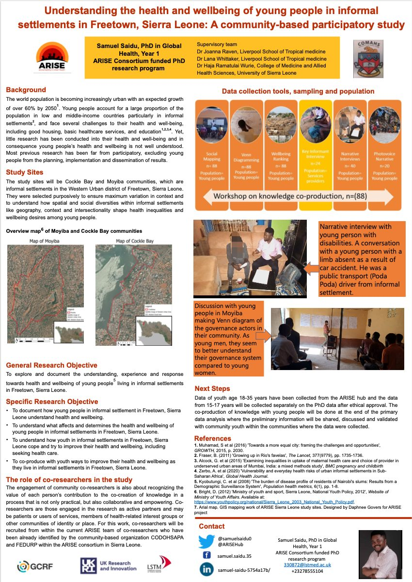 Understanding the Health and Wellbeing of Young People in Informal Settlements in Freetown, Sierra Leone - A Community-based Participatory Study