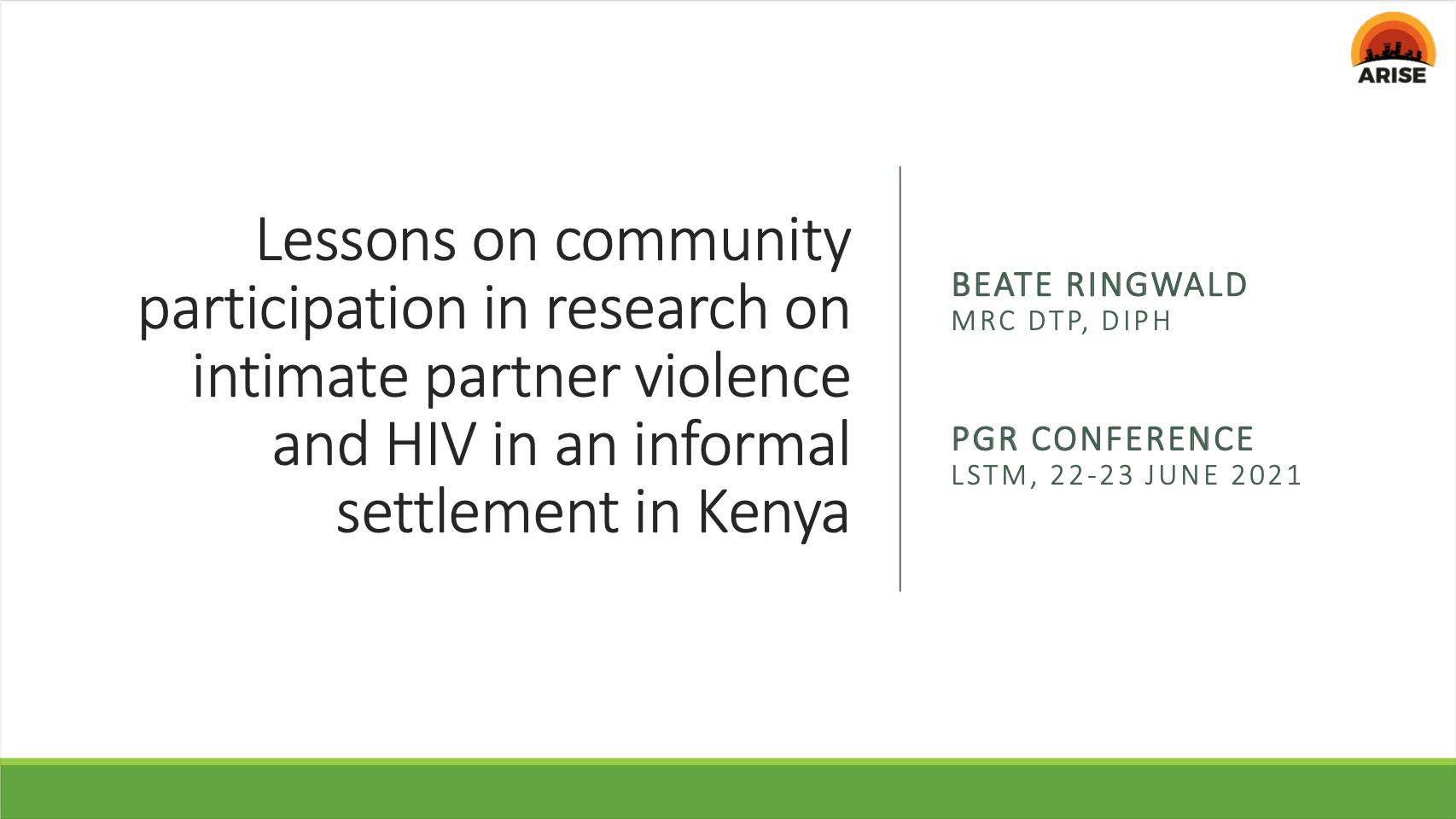 Lessons on community participation in research on intimate partner violence and HIV in an informal settlement in Kenya